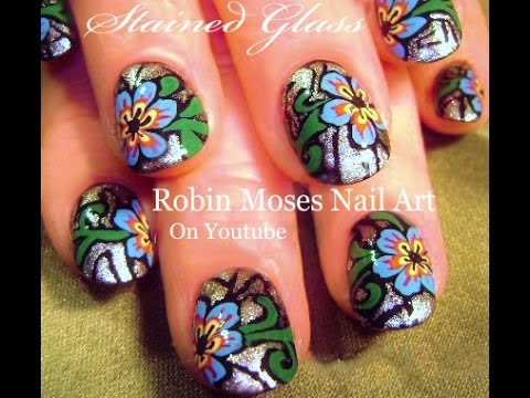 Stained Glass Nails | Easy Flower Nail Art Design Tutorial