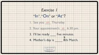 Prepositions of time - in, on, at. Exercise