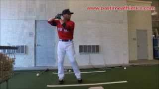 Dustin Pedroia Slow Motion Baseball Swing Hitting Mechanics - Drill in Cage Boston Red Sox MLB