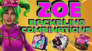 """""""ZOE"""" MELHORES COMBINAÇÕES DE BACKBLING DA PELE! (Battle Royale do Fortnite) (2018) (4 ª TEMPORADA SKIN)"""