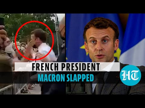 Watch: French President Emmanuel Macron slapped by man while greeting crowd