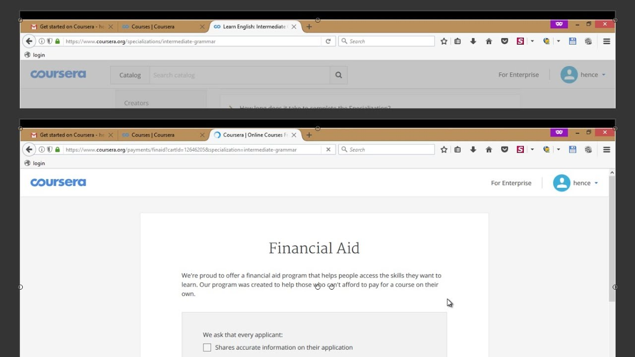 coursera: How to answer questions of financial aid?