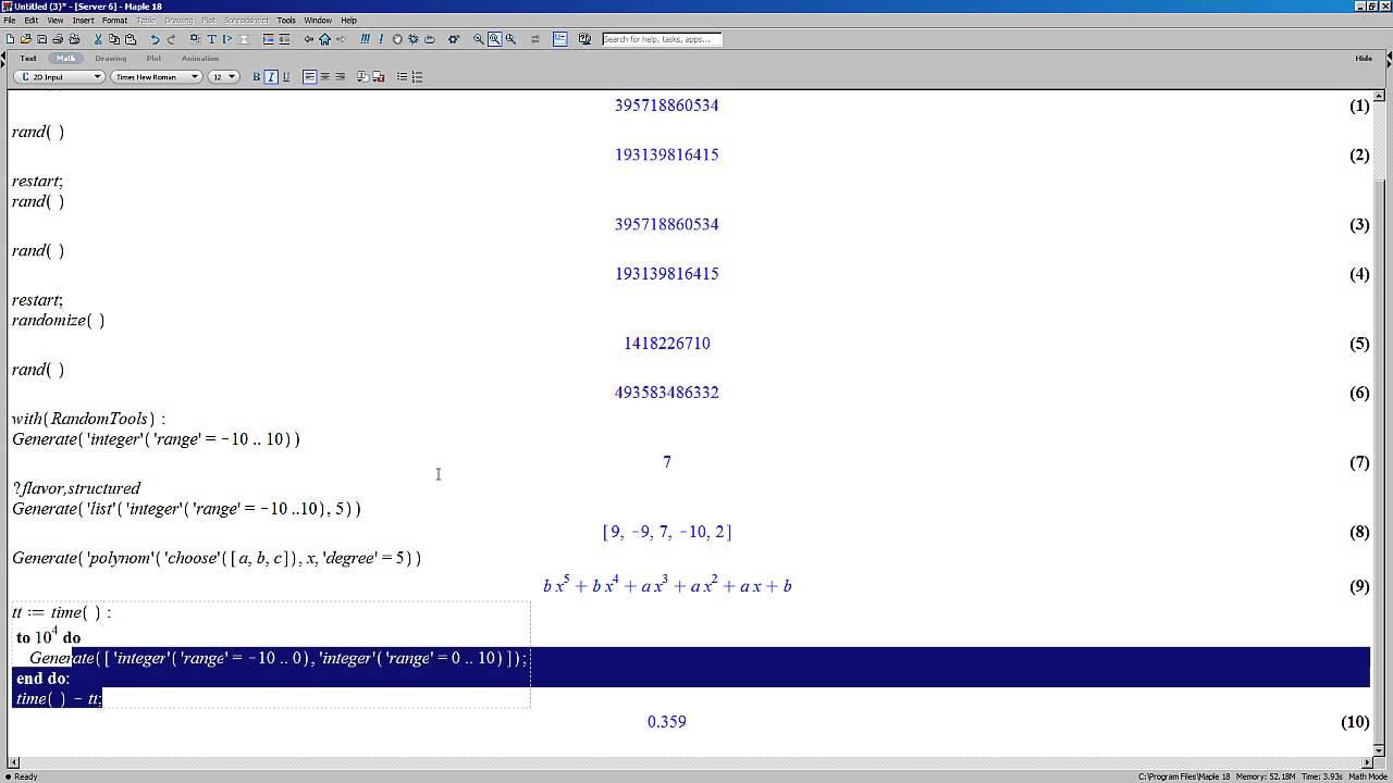 Generating Random Numbers Efficiently in Maple
