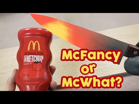 EXPERIMENT Glowing 1000 degree KNIFE VS MCDONALD'S KETCHUP