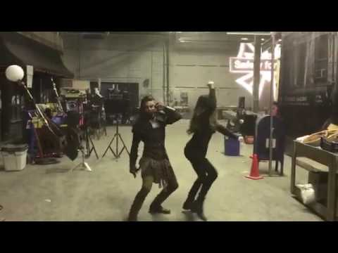 Jade & Michelle dancing behind the scenes.