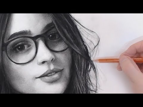 Girl with glasses Portrait Drawing Process