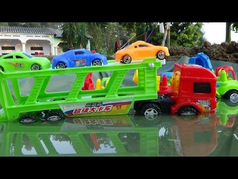 Thumbnail: Baby Studio - mother truck transport cars passing lake | trucks toy