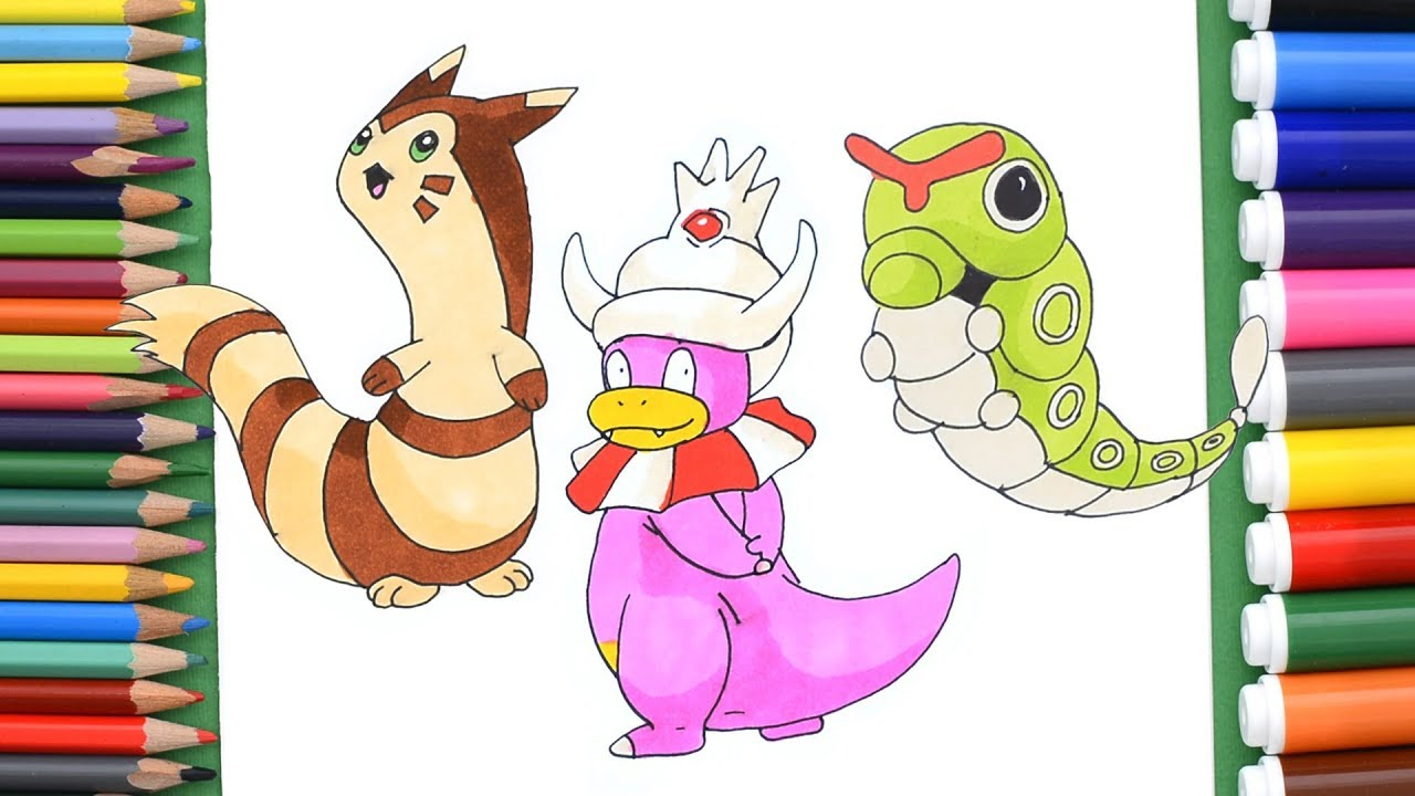How To Draw Pokemon Furret Caterpie Slowking Coloring Pages For Kids