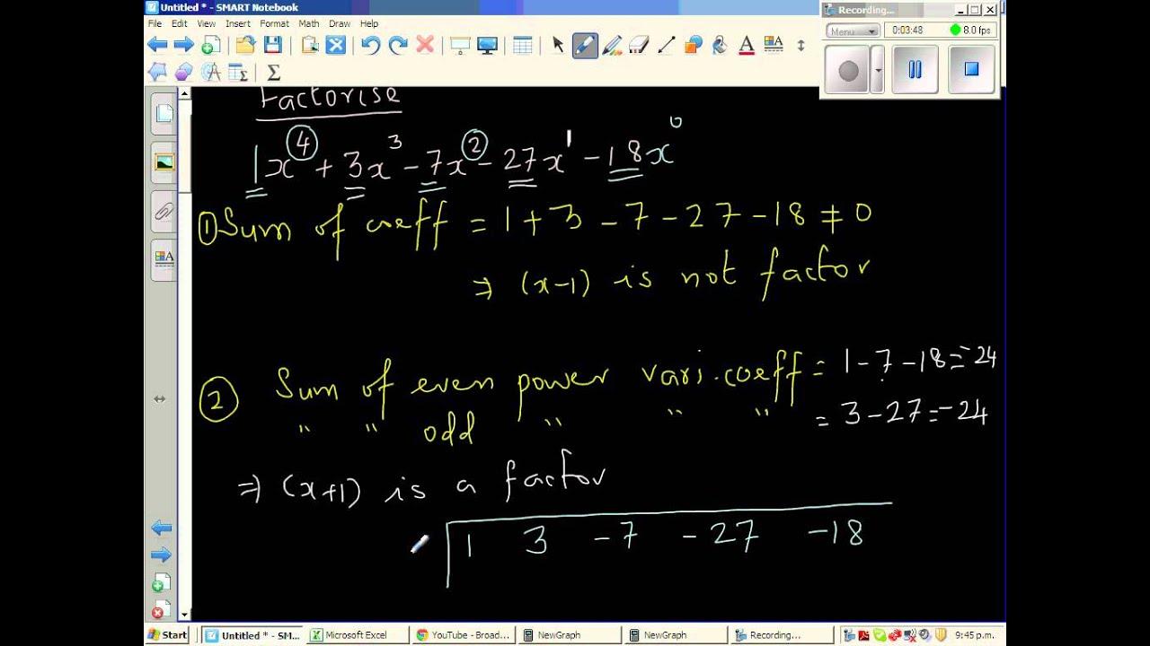 Factorization Of X 4 3x 3 7x 2 27x 18 Youtube
