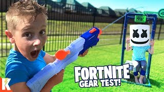 NERF Fortnite SUPER SOAKER OBBY & GEAR TEST for KIDS! KIDCITY