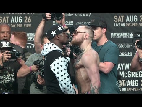 Thumbnail: Mayweather And McGregor Stare Off As Crowd Cheers 'Pay Your Taxes' | ESPN