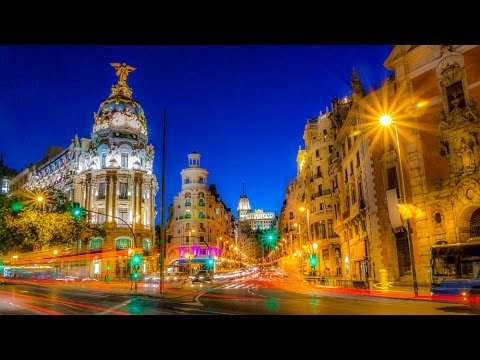 A Walk Up the Gran Via of Madrid, Spain