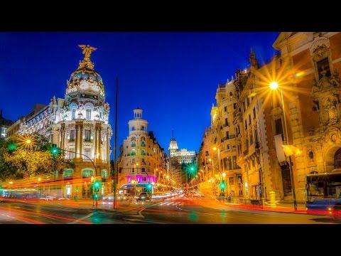 A Walk Up The Gran Via Of Madrid, Spain