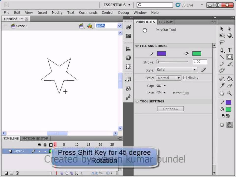 Lesson 03: Basic Shapes in Flash CS5 Part 01 : Adobe flash CS 5 ...