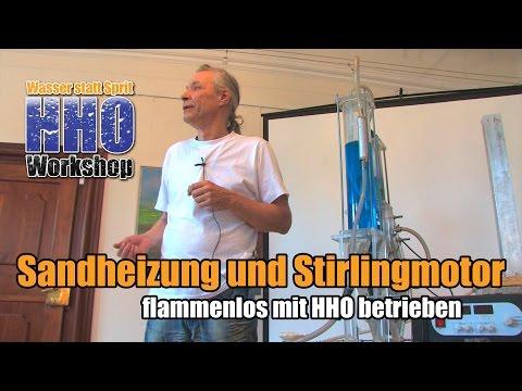 Sandheizung und Stirlingmotor flammenlos mit HHO betrieben
