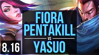FIORA vs YASUO (TOP) ~ Pentakill, Legendary ~ Korea Master ~ Patch 8.16