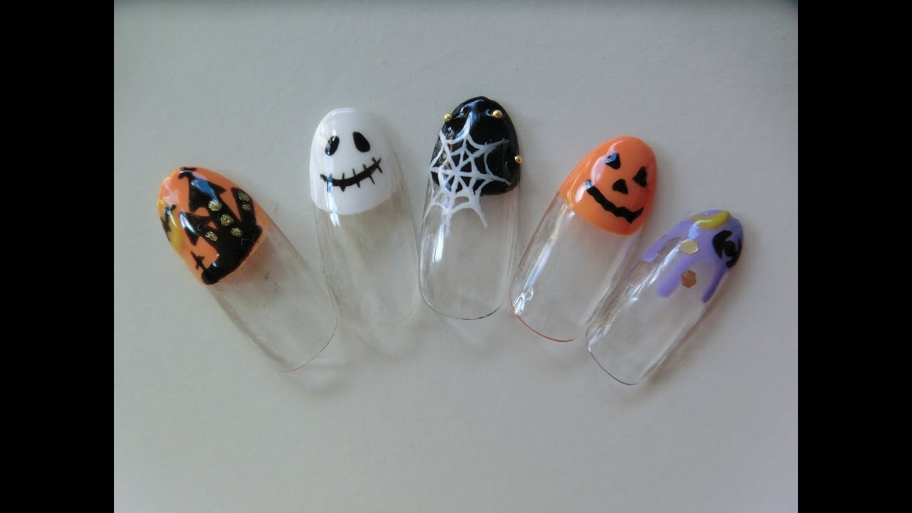 Autumn Gel Nail Art Design How To Make Halloween Gel Nails Youtube