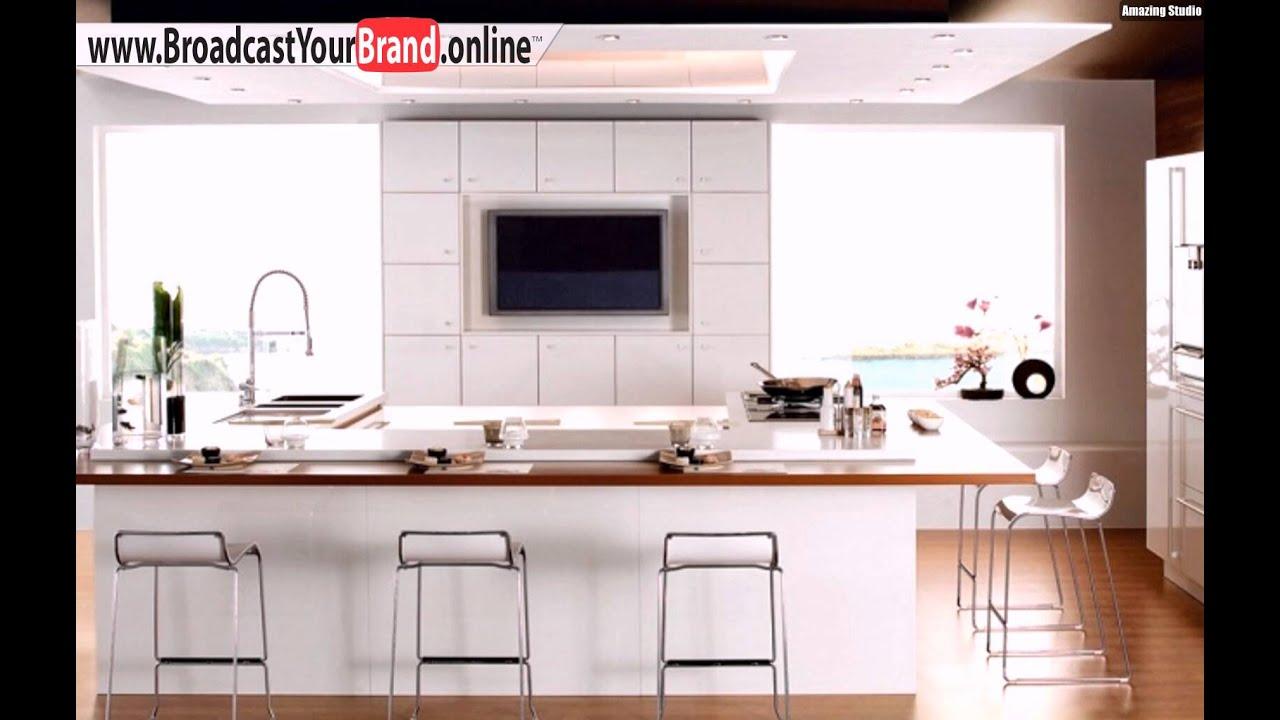 Küchen modern holz weiß  Wohnideen Küche Modern Weiß Barhocker Holz Arbeitsplatte - YouTube