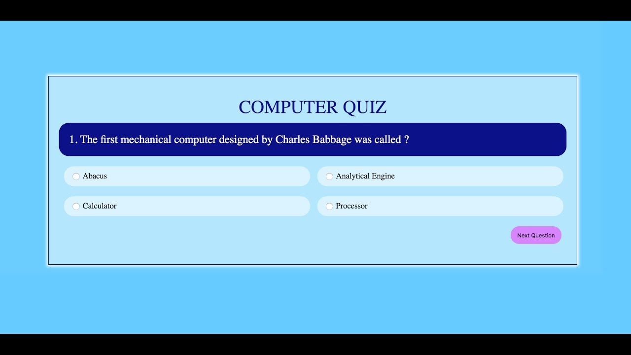 Quiz Application in JS - Part 1/2 | JavaScript Tutorials | Web Development  Tutorials