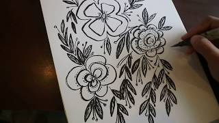 Doodle flowers using zig brush pen 2