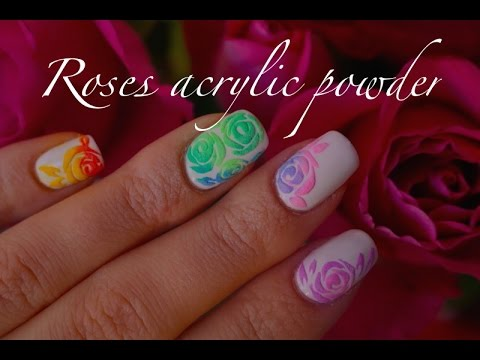 Romantic Nails Draw Roses On Powder