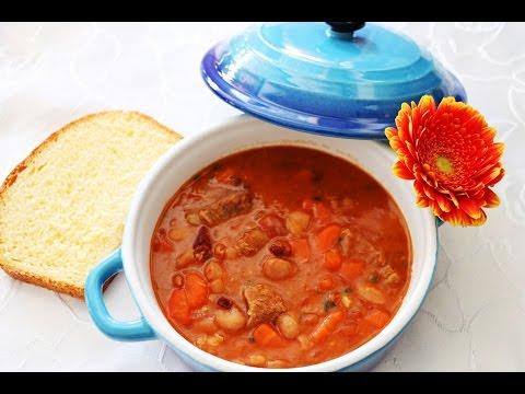 Grah sa teletinom i suhim mesom/ Bean stew with beef Balkan style