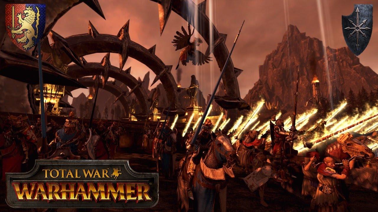Bretonnia Crusade into the Valley of Khorne (vs  Ninjahund) - Total War  Warhammer Multiplayer Battle