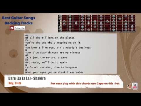 Dare (La La La) - Shakira Guitar Backing Track with scale, chords and lyrics