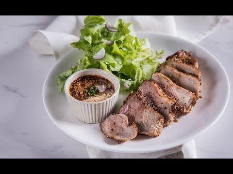 สเต๊กสันคอหมูจิ้มแจ่ว Pork Shoulder Steak with Jaew Sauce : พลพรรคนักปรุง