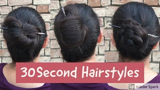 3 Hairstyles In 30 Seconds For College/Office ||Quick Bun Stick Bun Tutorial || Anchal Beniwal