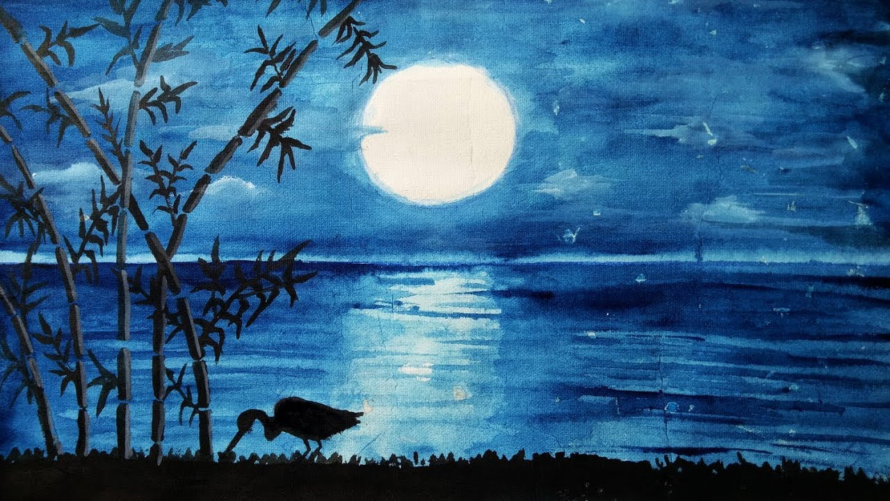 How To Draw Scenery Of Moonlight Night Step By Step Easy Draw Youtube