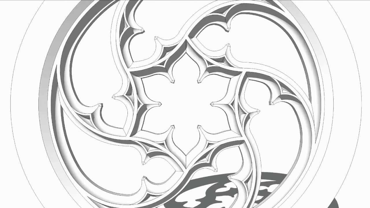 Gothic tracery stone window 3D animation in SketchUp