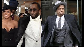 Diddy Makes Jay Z Jealous Arriving At Roc Nation Grammy Brunch With Cassie