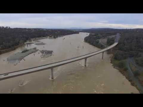 Yuba River Hwy 20 bridge Jan 9 2017 high water
