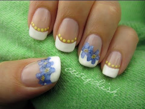 Nail art using real flowers youtube prinsesfo Images