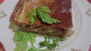 Пирог с кусочками мяса из свинины в тесте. Готовим в духовке.