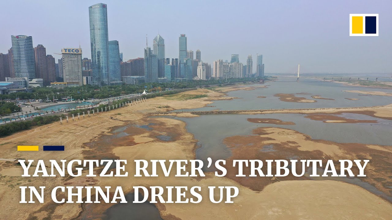 (CHINA - October 2019) Riverbed on Yangtze River tributary exposed as drought lingers in China's Jia