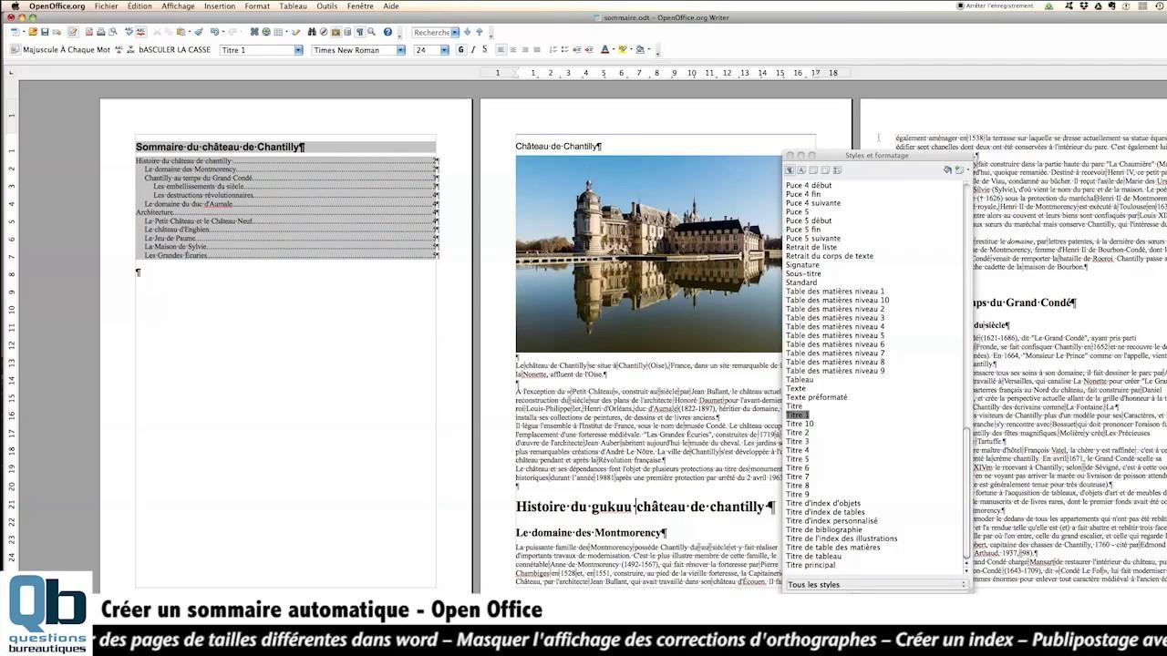 Open office 3 sommaire automatique youtube - Faire un sommaire open office ...