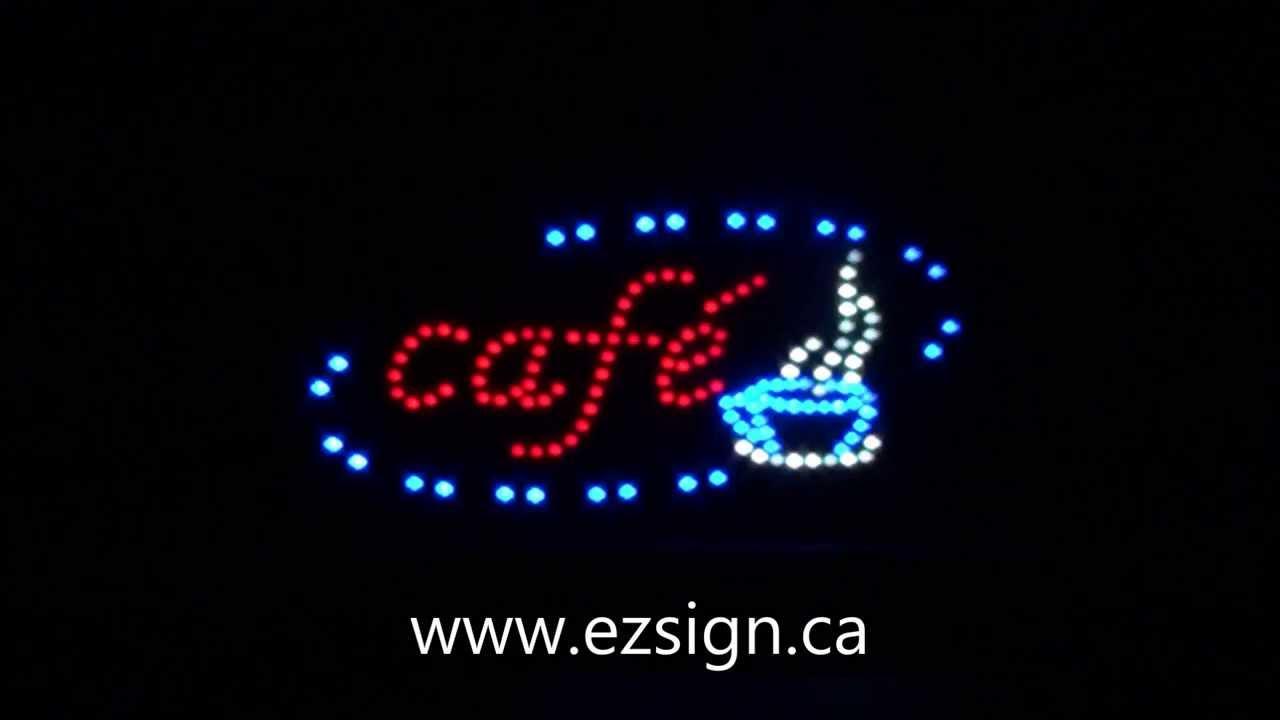enseigne lumineuse led caf led caf sign montr al qu bec youtube. Black Bedroom Furniture Sets. Home Design Ideas