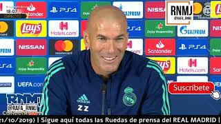 Galatasaray vs. Real Madrid Rueda de prensa previa de ZIDANE Champions (21/10/2019)