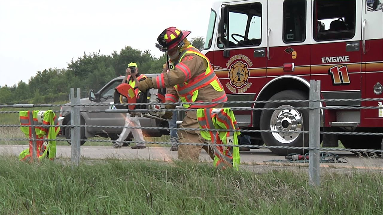 Cable median barrier emergency response training youtube