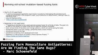 #HITBCyberWeek D1T1 - Fuzzing Farm Monoculture Antipatterns - Marc Schoenefeld