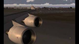 Emirates Sky cargo 747-400F taking off from Dubai