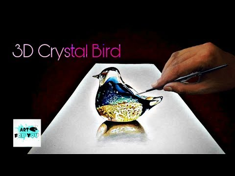 How to make crystal bird 3d painting how to draw 3d for How to make a 3d bird sculpture