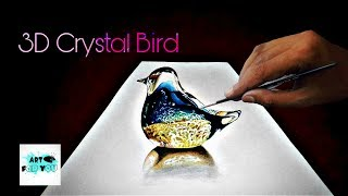 How to make crystal bird 3D painting | how to draw 3D Crystal bird | oil painting | Canvas Art