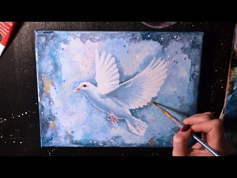 SPEED PAINTING - White Dove - Acrylic on Canvas