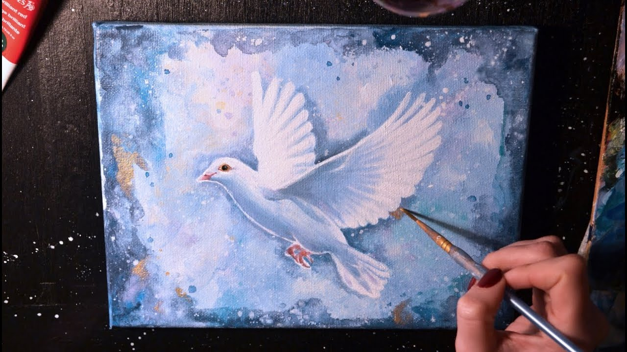 white dove paintSPEED PAINTING  White Dove  Acrylic on Canvas  YouTube