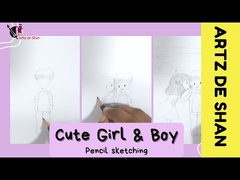 Pencil sketching | cute girl cute boy | Simple drawing | First video of the channel!