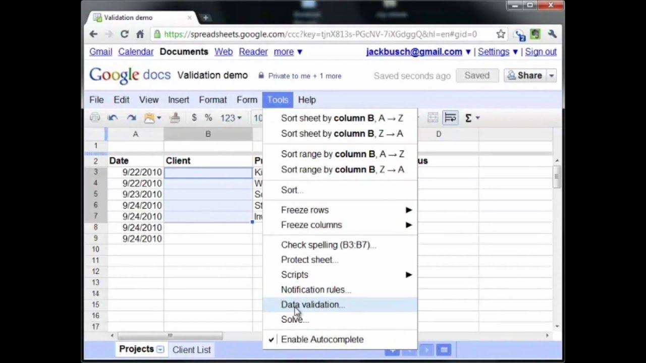 Google Docs Spreadsheet Data Validation Review YouTube - Google docs spreadsheet