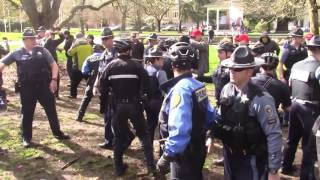 Fight Breaks Out At Salem Oregon #March4Trump Event When #ANTIFA Protesters Steal Trump Flag   Cam2